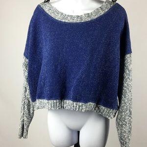 * zara w & b collection blue slouchy crop sweater